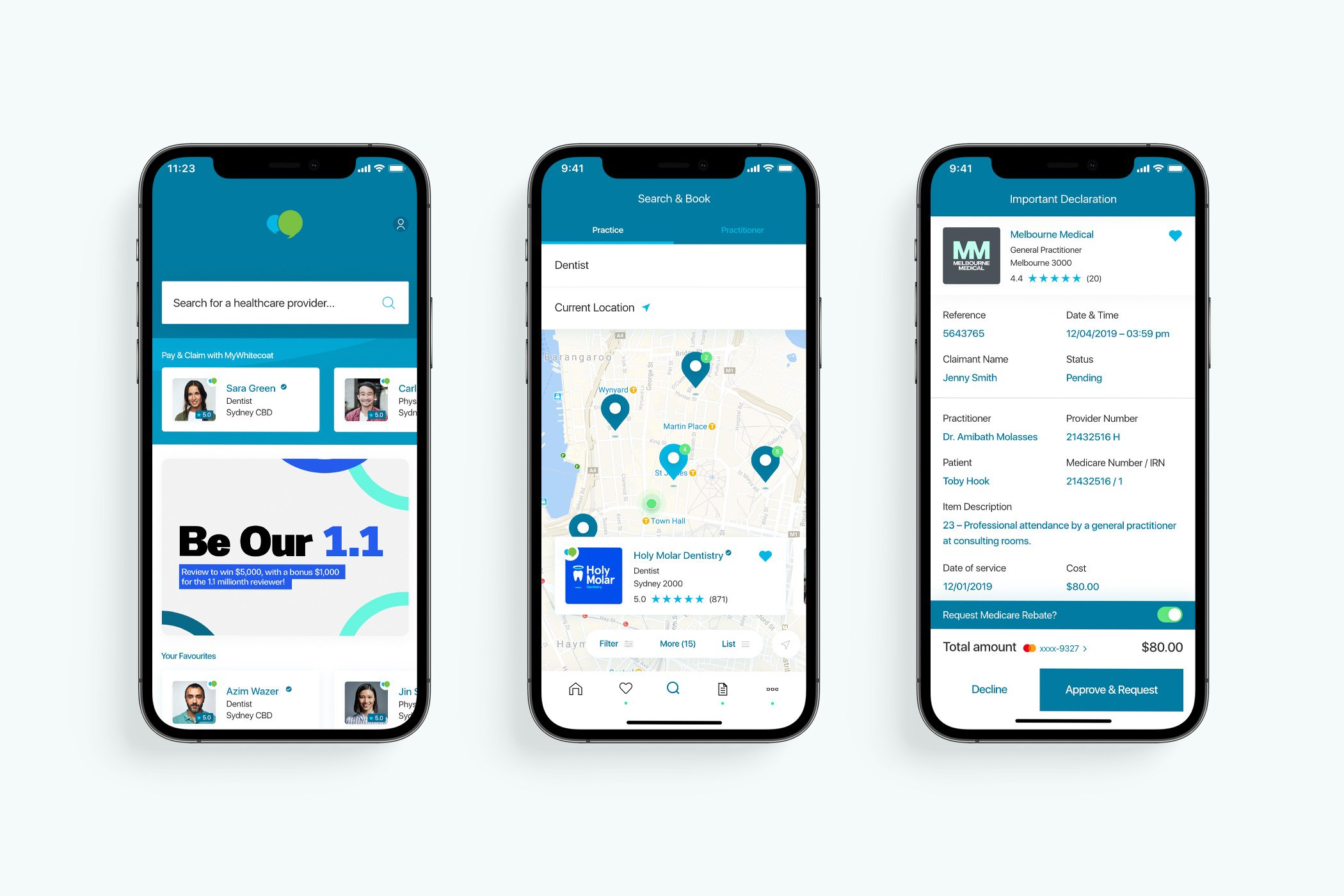 MyWhitecoat - App Overview screens